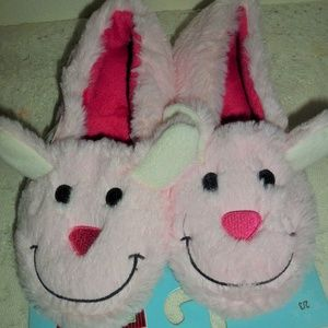 New Pink Bunny Rabbit Fur Slippers Youth Kids 2/3